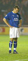 Photo. Andrew Unwin.<br /> Middlesbrough v Everton, Carling Cup Fourth Round, Riverside Stadium, Middlesbrough 03/12/2003.<br /> Everton's Leon Osman looks at the floor after failing to score his penalty.