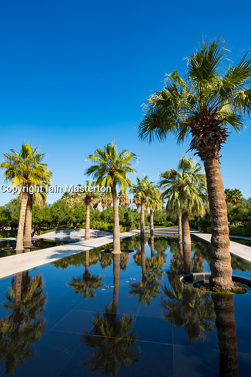 Palm trees reflected inn pond at  Al Shaheed Park in Kuwait City,Kuwait, Middle East