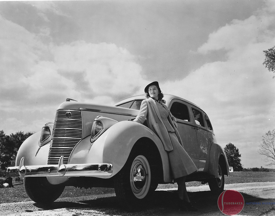 Factory publicity shot of a 1938 Studebaker Commander sedan. 1938 was the first year of Raymond Loewy Associates-designed Studebaker automobiles