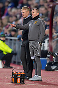 Livingston manager Gary Holt and assistant manager David Martindale discuss tactics during the 4th round of the William Hill Scottish Cup match between Heart of Midlothian and Livingston at Tynecastle Stadium, Edinburgh, Scotland on 20 January 2019.