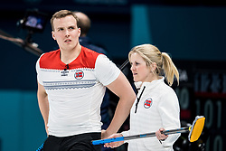 February 8, 2018 - Pyeongchang, South Korea - 180208 Kristin Moen Skaslien and Magnus Nedregotten of Norway during the round robin of the curling mixed doubles between OAR (Russia) and Norway ahead of the 2018 Winter Olympics on February 8, 2018 in Pyeongchang..Photo: Petter Arvidson / BILDBYRN / kod PA / 91954 (Credit Image: © Petter Arvidson/Bildbyran via ZUMA Press)
