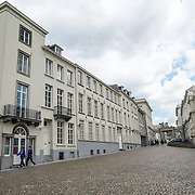 The back of the Fine Arts Museum in Brussels, Belgium, with its cobblestone streets.