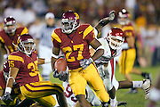 University of Southern California Trojan running back Michael Coleman looks for a hole in the defense to run the ball during a 70 to 17 win over the Arkansas Razorbacks on September 17, 2005 at Los Angeles Memorial Coliseum in Los Angeles, California. .Mandatory Credit: Wesley Hitt/Icon SMI