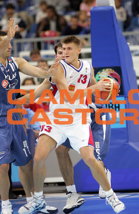 DESCRIZIONE : Belgrado Belgrade Eurobasket Men 2005 Grecia-Russia<br /> GIOCATORE : Kirilenko<br /> SQUADRA : Russia<br /> EVENTO : Eurobasket Men 2005 Campionati Europei Uomini 2005<br /> GARA : Grecia-Russia Greece-Russia<br /> DATA : 22/09/2005<br /> CATEGORIA :<br /> SPORT : Pallacanestro<br /> AUTORE : Ciamillo&amp;Castoria/Fiba Europe Pool