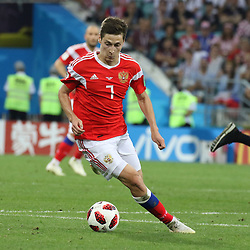 July 7, 2018 - Sochi, Russia - July 07, 2018, Sochi, FIFA World Cup 2018, the playoff round. 1/4 finals of the World Cup. Football match Russia - Croatia at the stadium Fisht. Player of the national team Daler Kuzyaev. (Credit Image: © Russian Look via ZUMA Wire)