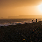 Sunset over the black beach in Vik