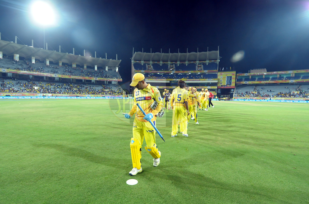 MS Dhoni captain of The Chennai Superkings  after match 21 of the Pepsi Indian Premier League Season 2014 between the Chennai Superkings and the Kolkata Knight Riders  held at the JSCA International Cricket Stadium, Ranch, India on the 2nd May  2014<br /> <br /> Photo by Arjun Panwar / IPL / SPORTZPICS<br /> <br /> <br /> <br /> Image use subject to terms and conditions which can be found here:  http://sportzpics.photoshelter.com/gallery/Pepsi-IPL-Image-terms-and-conditions/G00004VW1IVJ.gB0/C0000TScjhBM6ikg