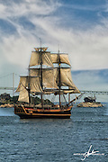 The HMS Bounty replica passing the Pell Bridge connecting Newportd to Jamestown Rhode Island.  Built for the movie, Mutany on the Bounty and later used in the Pirates of the Carribean series starring Johnny Depp.
