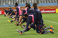 CAPE TOWN, SOUTH AFRICA - 13 JUNE 2010, Italian players stretch during Italy's training session held at the Cape Town Stadium. Italy play Paraguay in Match 11 of the 2010 FIFA World Cup on Monday 14 June 2010. Photo by: Shaun Roy/Sportzpics