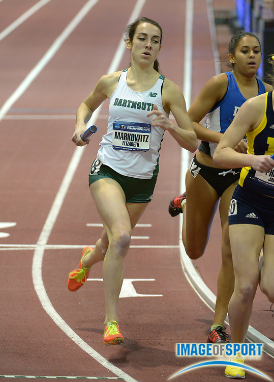 Mar 14, 2014; Albuquerque, NM, USA; Elizabeth Markowitz runs the 1,200m leg on the Oregon distance medley relay in the 2014 NCAA Indoor Championships at Albuquerque Convention Center.