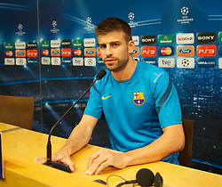 BARCELONA, SPAIN - Monday, April 23, 2012: FC Barcelona's Gerard Pique during a press conference at the Camp Nou ahead of the UEFA Champions League Semi-Final 2nd Leg match against Chelsea. (Pic by David Rawcliffe/Propaganda)