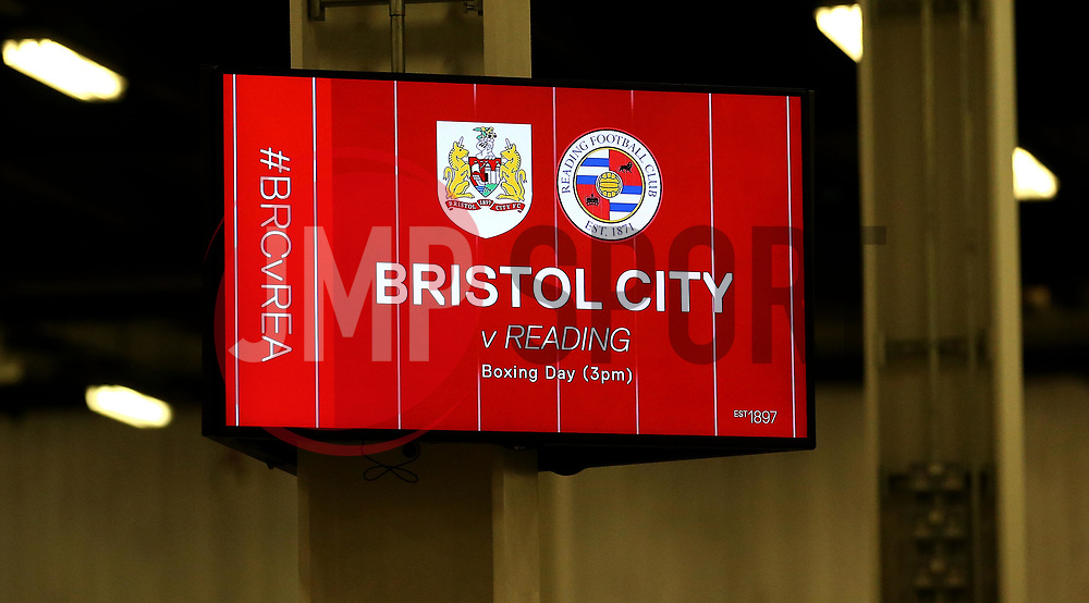 Concourse TV advertising the Boxing Day fixture with Reading - Mandatory by-line: Robbie Stephenson/JMP - 20/12/2017 - FOOTBALL - Ashton Gate Stadium - Bristol, England - Bristol City v Manchester United - Carabao Cup Quarter Final