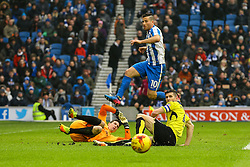 Tomer Hemed of Brighton & Hove Albion jumps over Jon McLaughlin of Burton Albion as he manages to clear the ball - Mandatory by-line: Jason Brown/JMP - 11/02/2017 - FOOTBALL - Amex Stadium - Brighton, England - Brighton and Hove Albion v Burton Albion - Sky Bet Championship