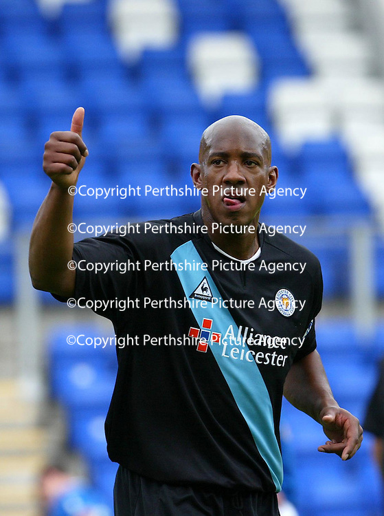 St Johnstone v Leicester City..24.07.04 (Friendly) <br />Dion Dublin celebrates his goal<br /><br />Picture by Graeme Hart.<br />Copyright Perthshire Picture Agency<br />Tel: 01738 623350  Mobile: 07990 594431