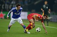 FUSSBALL  CHAMPIONS LEAGUE  ACHTELFINALE  Rueckspiel  2012/2013      FC Schalke 04 - Galatasaray Istanbul                   12.03.2013 Christian Fuchs (FC Schalke 04) gegen Hamit Altintop (re, Galatasaray Istanbul)