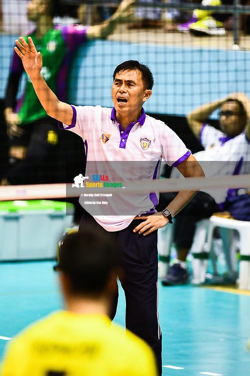 BANGKOK, THAILAND - MARCH 19: Air Force VC head coach Padejsuk Wannachote reaction after a bad call during the 2016–17 Men's Volleyball Thailand League Championship, Chantarubeksa Air Force Stadium, Bangkok, Thailand on March 19, 2017.<br /> .<br /> .<br /> .<br /> (Photo by: Naratip Golf Srisupab/SEALs Sports Images)<br /> .<br /> Any image use must include a mandatory credit line adjacent to the content which should read: Naratip Golf Srisupab/SEALs Sports Images