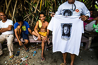 An image of Jesus Christ is printed on a t-shirt for a Holy Week festival in Pampanga, the Philippines.