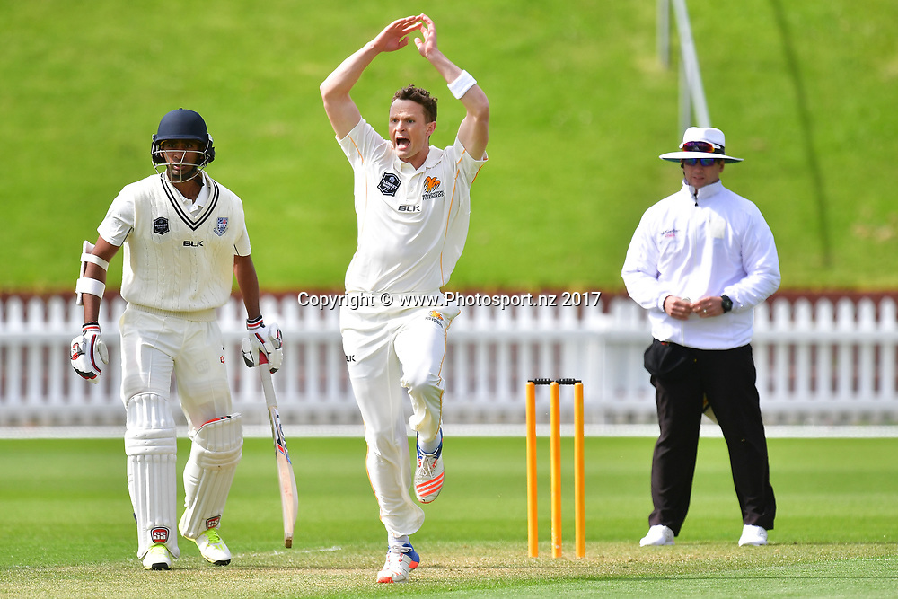 Firebirds Ollie Newton appeals during the Wellington Firebirds vs Auckland Aces Plunket Shield cricket match at the Basin Reserve in Wellington on Monday the 23 October 2017. Copyright Photo by Marty Melville / www.Photosport.nz