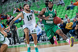 Codi Miller-McIntyre of KK Cedevita Olimpija and Isaia Cordinier of Nanterre 92 during EuroCup basketball match between teams KK Cedevita Olimpija and Nanterre 92 in Round 4, Arena Stozice, 23. October, Ljubljana, Slovenia. Photo by Grega Valancic / Sportida