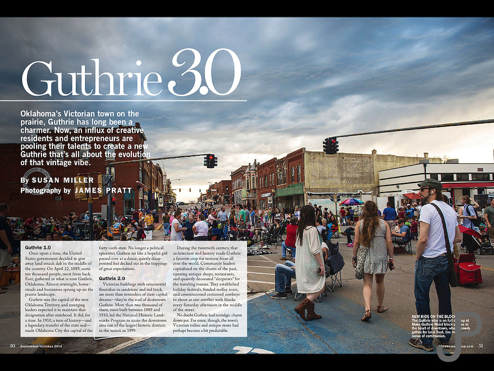 Opening double page spread I photographed for a story about the renaissance of Guthrie and its growth into a much bigger town. For Sept/Oct 2014 Oklahoma Today