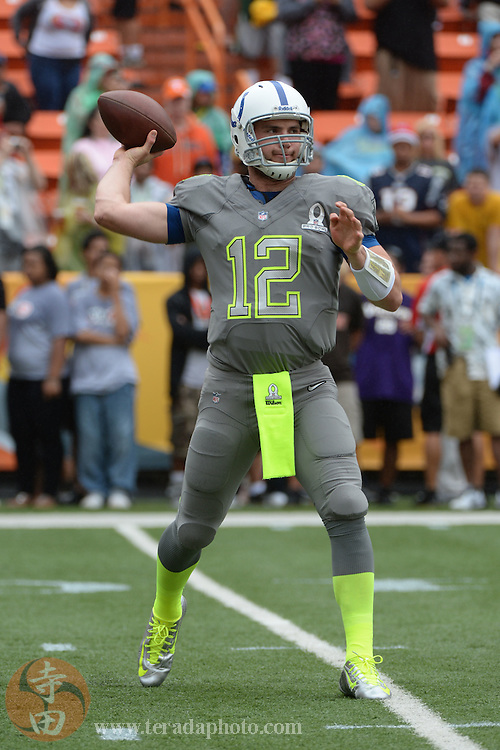 January 26, 2014; Honolulu, HI, USA; Team Sanders quarterback Andrew Luck of the Indianapolis Colts (12) passes the football during warm ups before the 2014 Pro Bowl against Team Rice at Aloha Stadium.