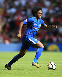 "Chelsea's da Silva Willian during the Community Shield at Wembley, London. PRESS ASSOCIATION Photo. Picture date: Sunday August 6, 2017. See PA story SOCCER Community Shield. Photo credit should read: Nigel French/PA Wire. RESTRICTIONS: EDITORIAL USE ONLY No use with unauthorised audio, video, data, fixture lists, club/league logos or ""live"" services. Online in-match use limited to 75 images, no video emulation. No use in betting, games or single club/league/player publications."