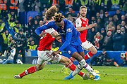 RED CARD Arsenal defender David Luiz (23) fouls Chelsea forward Tammy Abraham (9) during the Premier League match between Chelsea and Arsenal at Stamford Bridge, London, England on 21 January 2020.