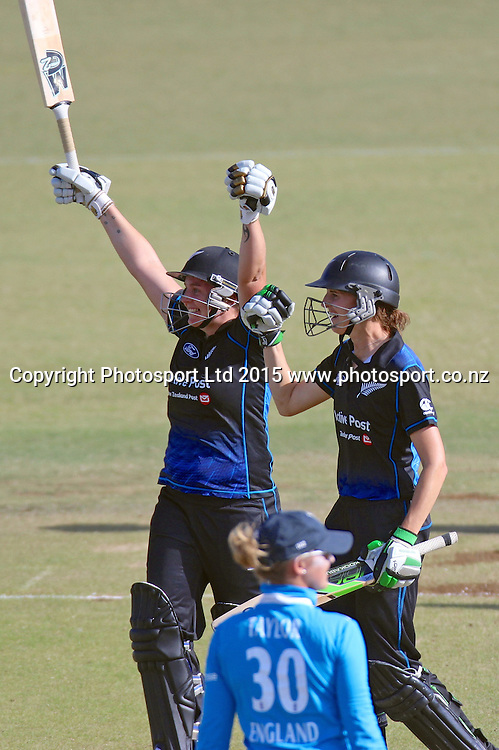 White Ferns Rachel Priest and Amy Satterthwaite celebrate a 9 wicket win over England to take a 2-1 series lead. New Zealand White Ferns v England - 3rd ODI at Bay Oval, Mount Maunganui, New Zealand. 15 February 2015. Photo credit: Margot Butcher/www.photosport.co.nz