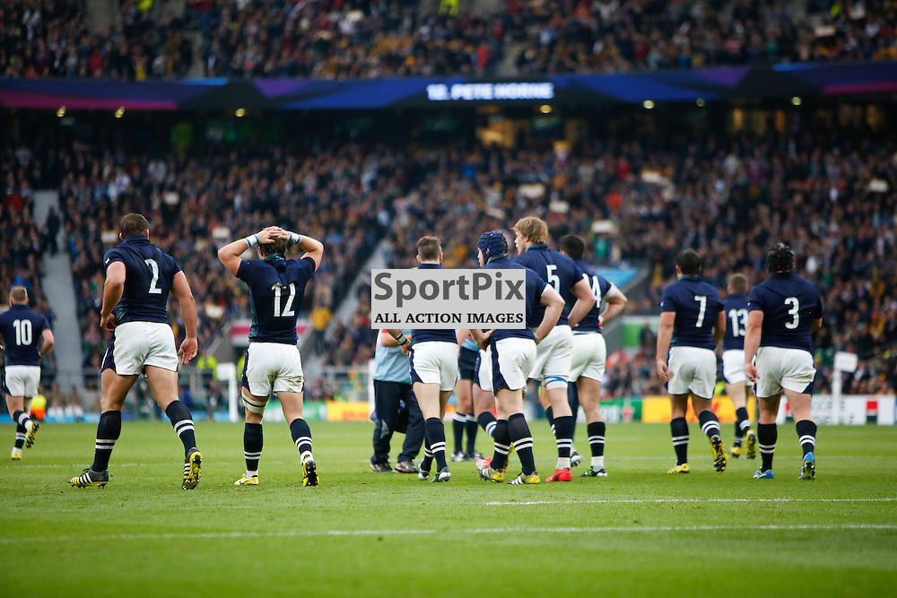 TWICKENHAM, ENGLAND - OCTOBER 18:  Scotland during the 2015 Rugby World Cup quarter final between Scotland and Australia at Twickenham Stadium on October 18, 2015 in London, England. (Credit: SAM TODD | SportPix.org.uk)