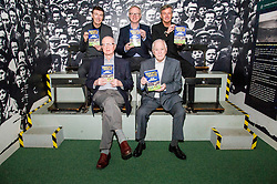Pictured: Front Row Archie MacPherson and Craig Brown, back row, Gordon Smith. Alex McLeish and Charlie Nicholas<br /> Veteran commentator Archie MacPherson was at Hampden Park today as he announced the publication of his latest book:  Adventures in the Golden Age - Scotland in the World Cup Finals 1974-1998, due to be published on 26 April  MacPherson was joined by former and  current Scotland manager Craig Brown and Alex McLeish respectivly  along with ex-Celtic, Arsenal and Scotland player Charlie Nicholas who was Archie's co-commentator at the Mexico World Cup. <br /> <br /> Ger Harley | EEm 25 April 2018