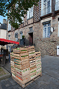 """Rennes, FRANCE. General View GV. Rennes weekly regional market. Brittany,<br /> <br /> """"Crated Vegtables"""", sold from stalls in the open and covered market  <br /> <br /> Saturday  26/04/2014 <br /> <br /> © Peter SPURRIER, <br /> <br /> NIKON CORPORATION  NIKON D700  f7.1  1/400sec  24mm  9.4MB"""