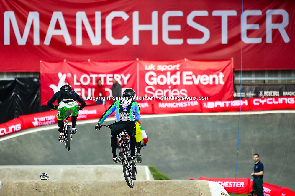 Picture by Alex Whitehead/SWpix.com - Cycling - 2014 UCI BMX Supercross World Cup - National BMX Centre, Manchester, England - 18/04/14 - Action
