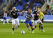 Orlando Sá takes on Richard Keogh during the Sky Bet Championship match between Reading and Derby County at the Madejski Stadium, Reading, England on 15 September 2015. Photo by David Charbit.