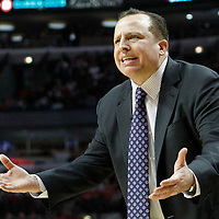 12 March 2012: Chicago Bulls head coach Tom Thibodeau reacts during the Chicago Bulls 104-99 victory over the New York Knicks at the United Center, Chicago, Illinois, USA.