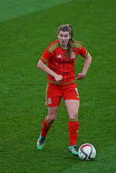 NEWPORT, WALES - Sunday, April 3, 2016: Wales' Erin Riden in action against Northern Ireland during Day 3 of the Bob Docherty International Tournament 2016 at Dragon Park. (Pic by David Rawcliffe/Propaganda)