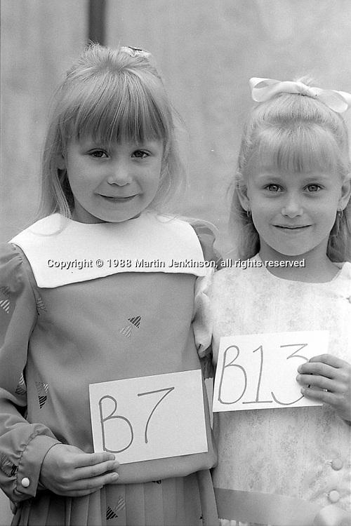 Miss Miners Lamp (5 to 7yrs): 3rd Lisa McKeon, Allerton Bywater; 1st Kaye Sagar, Woolley.1988 Yorkshire Miner's Gala. Wakefield.