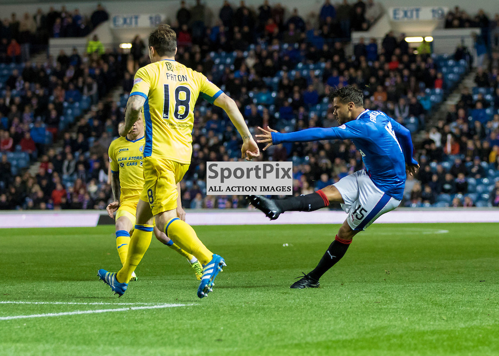 Harry Forrester ( Rangers FC ) with a first half strike on goal. Rangers v St. Johnstone, Scottish Premiership, 26th October 2016. (c) Paul Cram | SportPix
