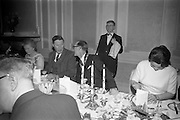14/02/1963<br /> 02/14/1963<br /> 14 February 1963<br /> Annual Dinner of the Irish Institute of Secretaries at Jury's Hotel, Dublin.  Picture shows Kevin Boland, Minister for Social Welfare and Michael A. Purcell, President of the Institute, chatting over dinner.