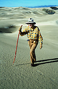 "Kathleen Goddard Jones, sometimes known as ""The Dune Lady"" walks in the Nipomo Dunes."