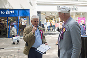 PATRICK O'FLYNN SDP X UKIP, STUART AGNEW,  party campaigning in Peterborough before the byelection caused by the jailing of the local MP for a lying about a speeding offense.  1 June 2019