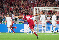 Trent Alexander-Arnold of Liverpool celebrates during the UEFA Champions League final football match between Liverpool and Real Madrid at the Olympic Stadium in Kiev, Ukraine on May 26, 2018.Photo by Sandi Fiser / Sportida