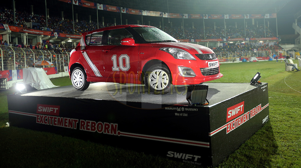 Maruti Suzuki car in display during match 8 of the Indian Super League (ISL) season 3 between FC Goa and FC Pune City held at the Fatorda Stadium in Goa, India on the 8th October 2016.<br /> <br /> Photo by Sandeep Shetty / ISL/ SPORTZPICS