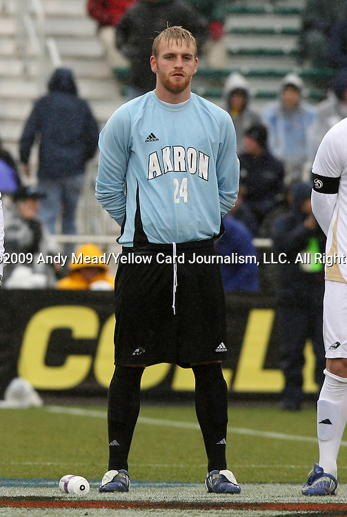 13 December 2009: Akron's David Meves. The University of Virginia Cavaliers defeated the University of Akron Zips 3-2 on penalty kicks after playing to a 0-0 overtime tie at WakeMed Soccer Stadium in Cary, North Carolina in the NCAA Division I Men's College Cup Championship game.