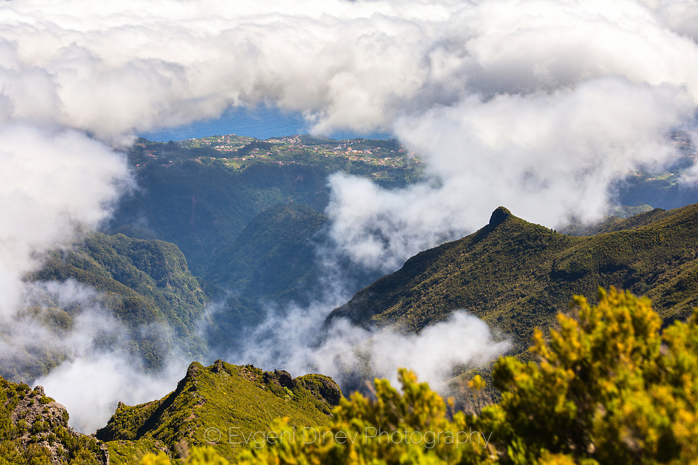 View to village Ilha from highest point of Madeira island