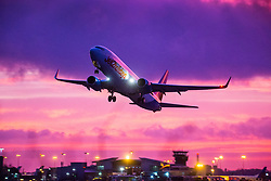 © Licensed to London News Pictures. 05/12/2019. Leeds UK. A Jet2 aircraft takes off in strong cross winds at dawn this morning at Leeds Bradford Airport as the UK prepares for Gale force winds & heavy rain set to batter Britain this weekend. Photo credit: Andrew McCaren/LNP