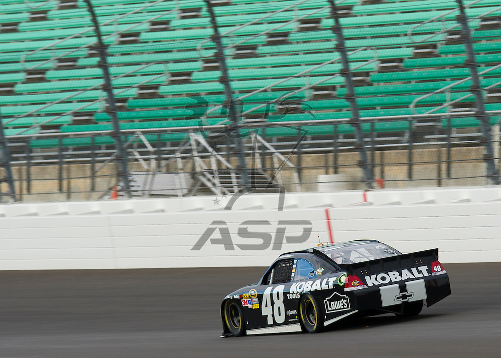 Kansas City, KS - OCT 18, 2012:  The NASCAR Sprint Cup Series teams take to the track during an open testing session at Kansas Speedway in Kansas City, KS.