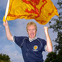 Iain Emerson (43) from Kilmaurs is a huge fan of the Tartan Army..Newsquest Media Group