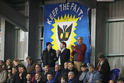 AFC Wimbledon fans clapping during the EFL Sky Bet League 1 match between AFC Wimbledon and Rotherham United at the Cherry Red Records Stadium, Kingston, England on 17 October 2017. Photo by Matthew Redman.