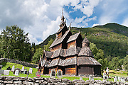 """The 12th century Borgund Stave Church (stavkirke or stavkyrkje) is the best preserved of Norway's 28 remaining stave churches. """"Staves"""" are upright logs that support the central room framework. Borgund is a triple nave stave church of the Sogn-type. Location: Borgund, Lærdal municipality, Sogn og Fjordane county, Norway"""
