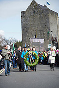 28/03/2016  Thousands of people have turned out in Athenry for a State ceremony marking the centenary of the 1916 Easter Rising.<br /> The milestone event culminated with a wreath laying ceremony and a minutes silence, coordinated with other events taking place across the country timed to mark the first shots fired one hundred years ago.<br />  The Wreath is carried to Kenny park.<br /> Photo:Andrew Downes, xposure.